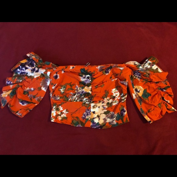 H&M Tops - Orange Floral Off Shoulder